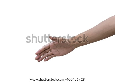 Hand shake a businessman on white background