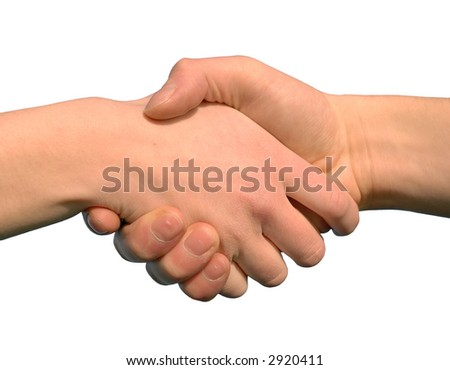 hand shake as a symbol for help or for closing a contract - stock photo