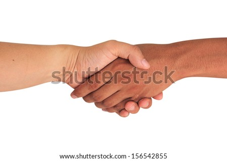Hand shake between a man and man isolated on white - stock photo