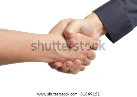 Hand shake between a salesman and customer. Isolated on white background. - stock photo
