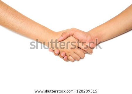 Hand shake between man hand and woman hand on white background - stock photo
