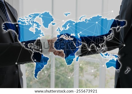 Hand shake of businessman, globalization concept - stock photo