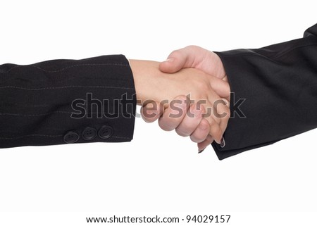 Hand shake of man and woman on white background