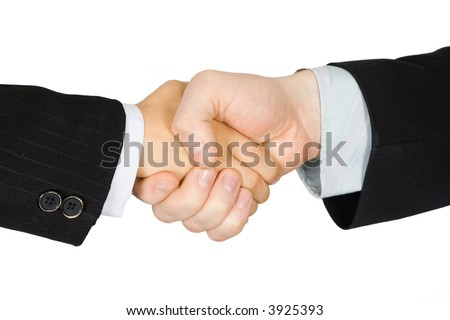 Hand shake of the man and the boy in suits - stock photo