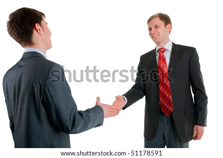 Hand shake of two men of businessmen which are very glad meetings with the friend the friend - stock photo