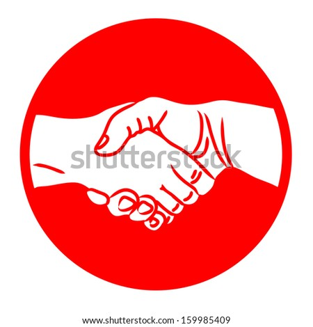 Hand shake, shaking hands symbol, sign, red isolated on white background raster