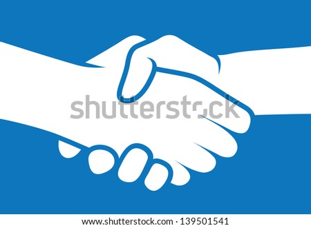 Hand shaking business art of a deal logo and icon - stock photo