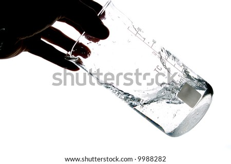 hand shaking water in a chemical measure glass , isolated on white