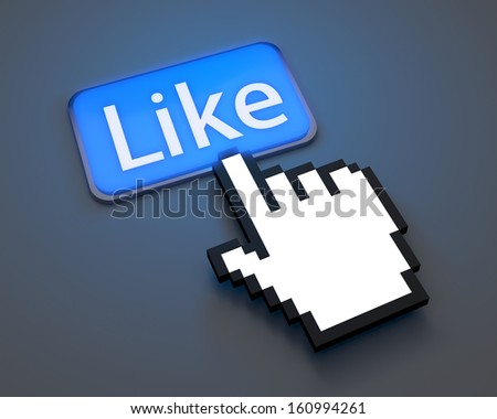 Hand Shaped mouse Cursor illustration like  share  - stock photo