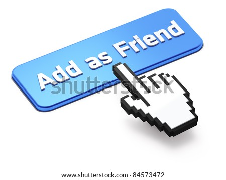 Hand-shaped mouse cursor press Add as Friend button - stock photo