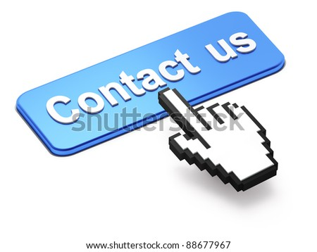 Hand-shaped mouse cursor press Contact Us button on white background