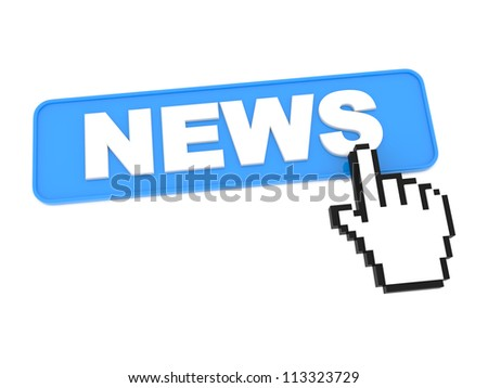 Hand-Shaped Mouse Cursor Press News Button on White Background. - stock photo