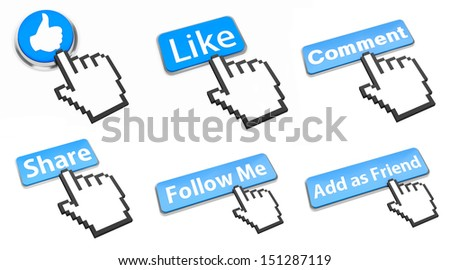 Hand Shaped mouse Cursor thumb up like good social media share 3d symbol icon button illustration  - stock photo