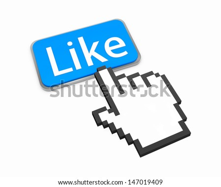 Hand Shaped mouse Cursor thumb up like man share good social media share 3d symbol icon button illustration keyboard - stock photo
