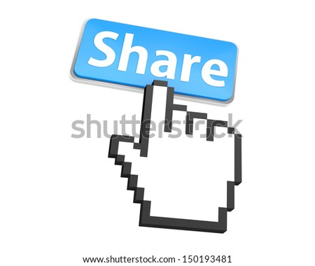 Hand Shaped mouse Cursor thumb up like  share good social media share 3d symbol icon button