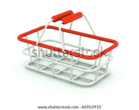 Hand shopping cart isolated on white. Red series - stock photo