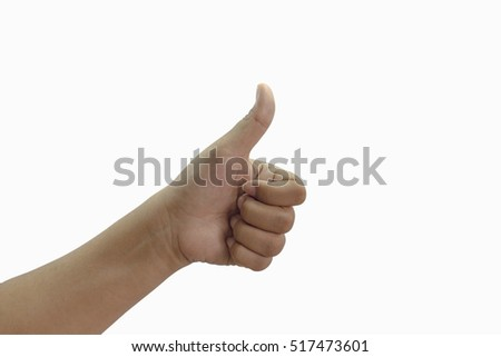 hand show ok sign isolated on white background with clipping path