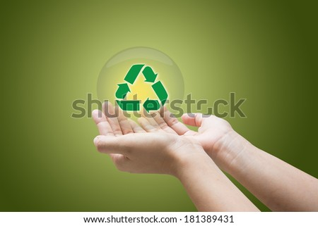 Hand show recycle sign business concept