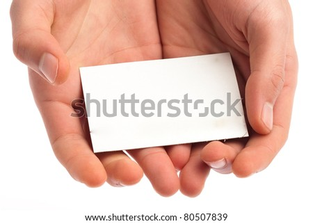 hand showing a card on white background