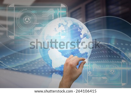 Hand showing against digitally generated server room with towers - stock photo