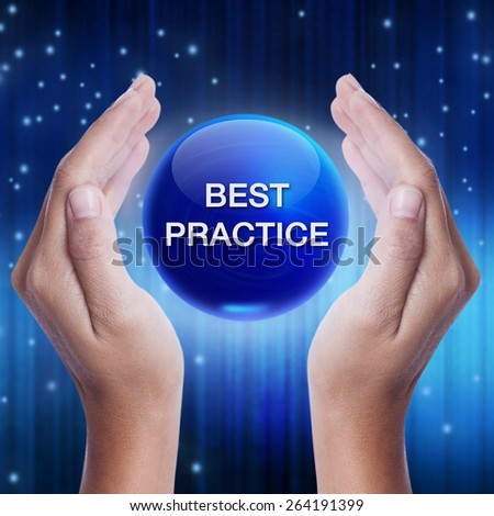 Hand showing blue crystal ball with best practice word. business concept - stock photo