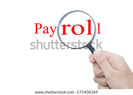 Hand Showing Contact Payroll Magnifying Glass