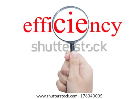 Hand Showing efficiency Word Through Magnifying Glass  - stock photo