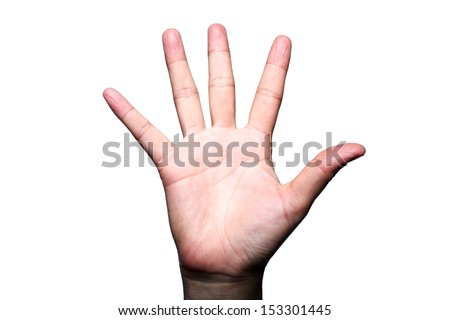 hand showing five finger isolated on white background - stock photo