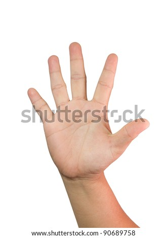 hand showing five fingers