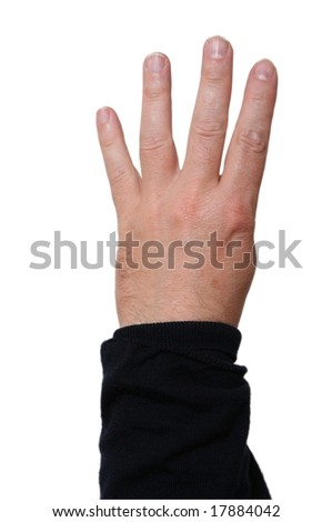 Hand showing four fingers; middle-aged skin type (around 50); white background - stock photo
