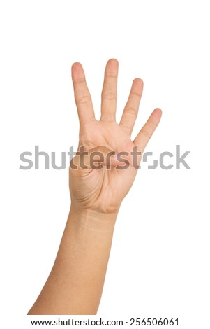 Hand showing four fingers. Number four gesture isolated on white background