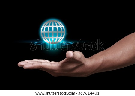 Hand showing global concept design