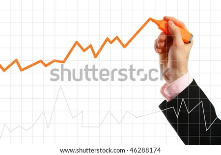Hand showing graph isolated on white - stock photo