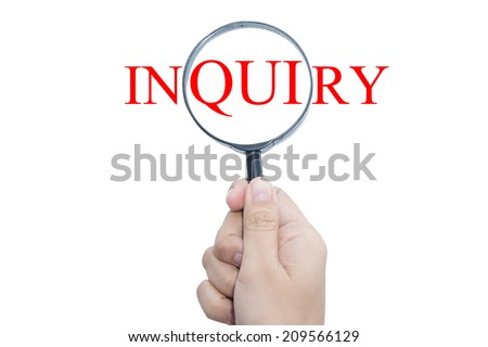 Hand Showing INQUIRY Word Through Magnifying Glass  - stock photo