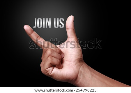 Hand showing join us icon