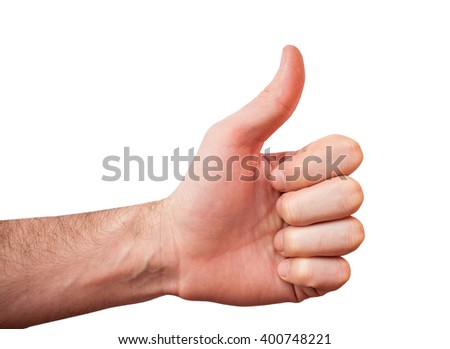 Hand showing Like sign, thumb up gesture