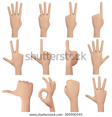 hand showing number sign. Isolated on white Background ,3d render