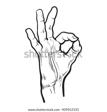 Hand showing OK. Painted hand. All perfectly. Everything is fine. Good. Fingers do the ring. OK symbol. Isolated hand. One hand. Painted illustration of hands. Symbol everything is fine.  - stock photo