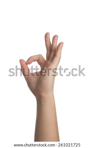 Hand showing oksign isolated on white - stock photo