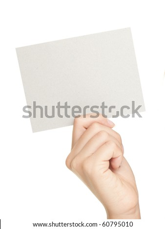 Hand showing sign. Woman hand showing blank gift card sign with empty copy space. Isolated on white background. - stock photo