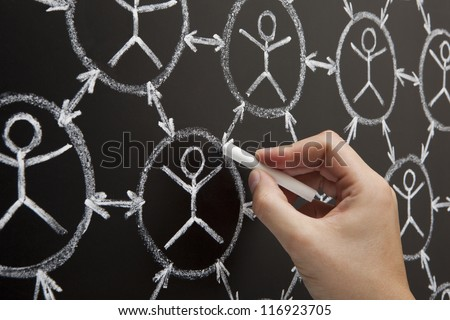 Hand showing social networking concept made with white chalk on a blackboard - stock photo