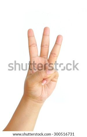 hand showing three fingers isolated on white background - stock photo