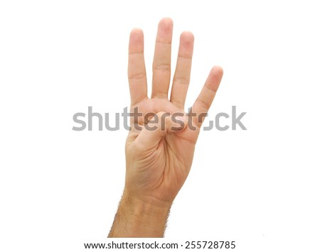 Hand showing three fingers. Number two gesture isolated on white background - stock photo