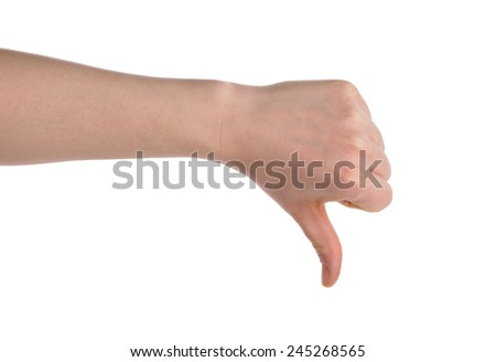 hand showing thumb down isolated over white background