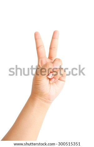 Hand showing two fingers isolated on white background - stock photo