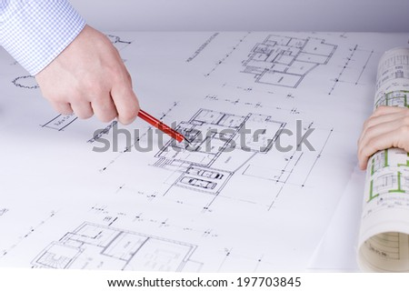 hand showing with pen - stock photo