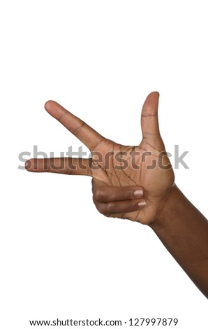 Hand shows three fingers, studio shot, isolated - stock photo