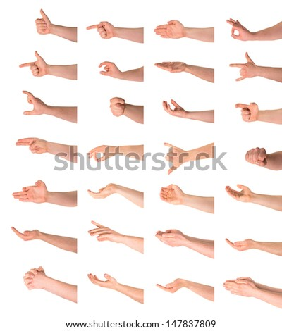 Hand sign and gesture collection isolated over white background, set of twenty eight