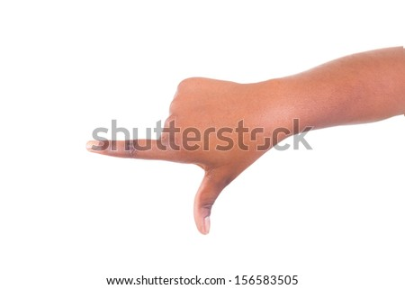 hand sign isolated on white background - stock photo