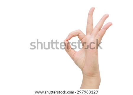 Hand sign OK with isolated background. - stock photo
